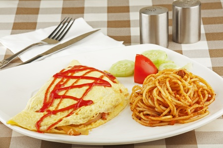 omelet: Vegetable egg omelet and pasta dish