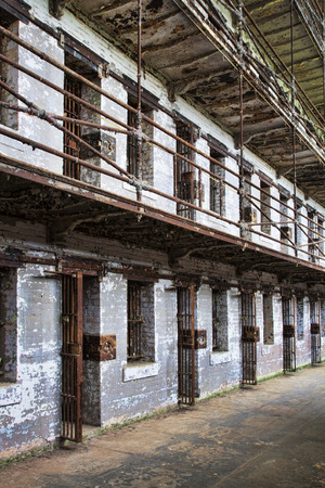 jailhouse: Cell block of the inside of an old prison no longer in use