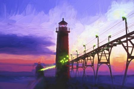 lake michigan lighthouse: Pintura impresionista de una puesta de sol en Grand Haven Faro en Grand Haven Michigan EE.UU.