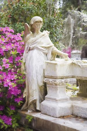 gravesite: Impressionist art of a gravesite in the Bonaventure Cemetery in Savannah Georgia