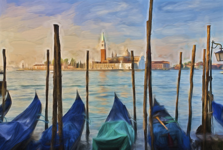 europeans: Impressionist painting of Gondolas moored at Molo San Marco in Venice Italy with San Giorgio Maggiore in the background