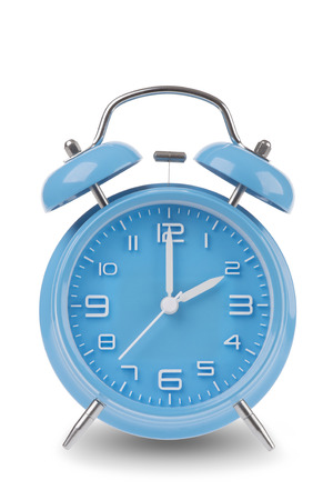 pm: Blue alarm clock with the hands at 2 am or pm isolated on a white background, One of a set of 12 images showing the top of the hour starting with 1 am  pm and going through all 12 hours