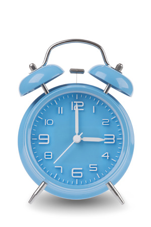 am: Blue alarm clock with the hands at 3 am or pm isolated on a white background, One of a set of 12 images showing the top of the hour starting with 1 am  pm and going through all 12 hours