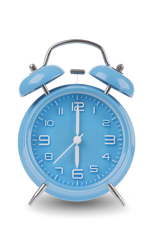 6 12: Blue alarm clock with the hands at 6 am or pm isolated on a white background, One of a set of 12 images showing the top of the hour starting with 1 am  pm and going through all 12 hours Stock Photo