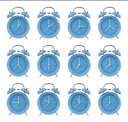top seven: Twelve blue alarm clocks showing the top of each hour isolated on a white background