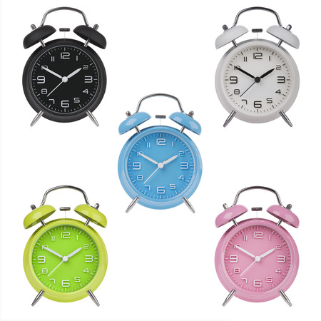 pm: Five alarm clocks with the hands at 10 and 2 am or pm isolated on a white background