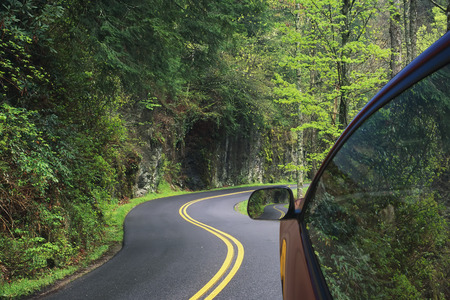staycation: Driving through the winding roads of the Great Smoky Mountains National Park, Tennessee, USA Stock Photo