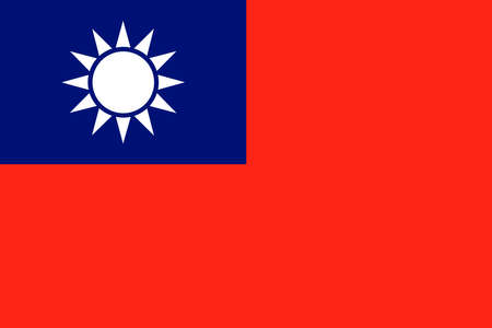 officially: Taiwan, officially the Republic of China official flag Illustration