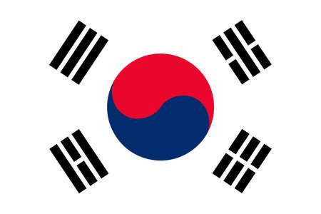 La República de Corea también conocida como la bandera oficial de Corea del Sur en color y proporciones, también conocido como el Taegeukgi