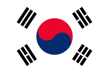 The Republic of Korea also known as South Korea official flag in both color and proportions, also known as the Taegeukgi Illustration