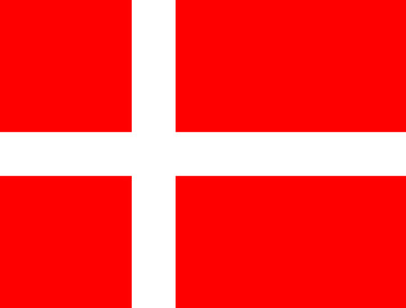 danish flag: The official flag of the Kingdom of Denmark, also known os the Dannebrog