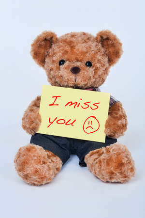 i miss you: A cute teddy bear holding a yellow sign that says I miss you isolated on a white background