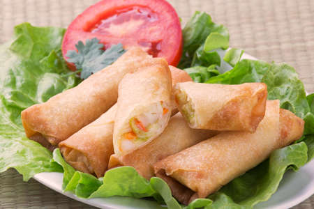 egg roll: Traditional Chinese Spring Rolls showing inside of appetizer