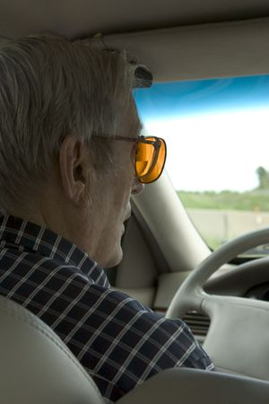 cautious: elderly driver