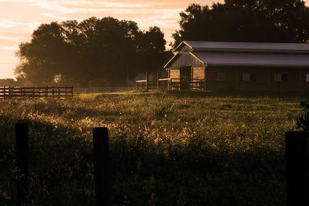 glistening: granero brillante al amanecer Foto de archivo