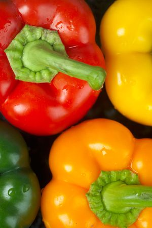 Top view of red, yellow green and orange peppers Stock Photo - 228425