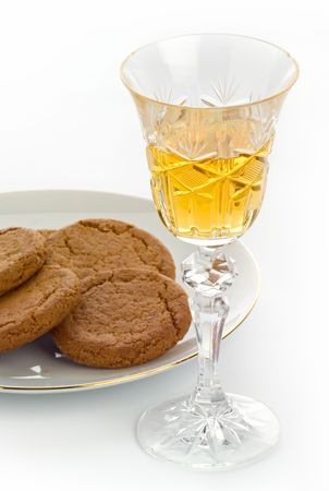 sherry: Crystal sherry glass with biscuits