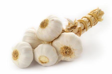 highkey: Garlic bulbs, high-key, isolated Stock Photo