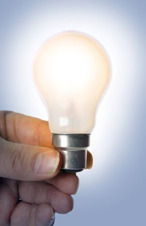 authenticity: Light bulb glows in a blue room, no cable.  Light cast on hand for authenticity.