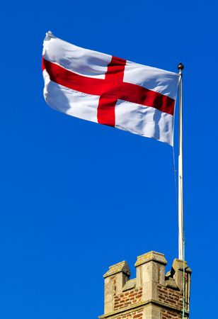 ramparts: Cross of St George flying from castle ramparts Stock Photo