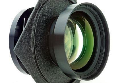 Large format camera lens isolated photo
