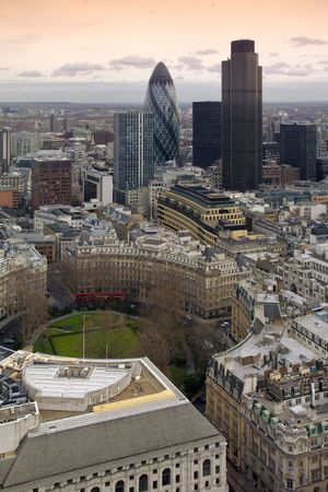 London, a general aerial view over the City financial district.  finsburt Curcus in foreground Stock Photo - 375397