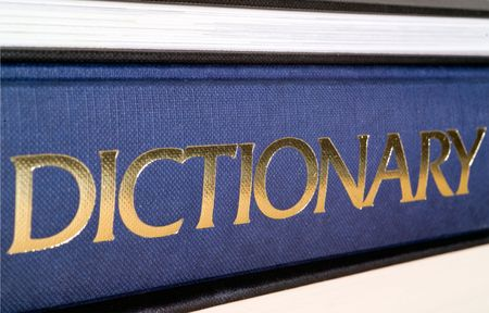 interpret: Dictionary spine in gold letters.  Shallow dof.