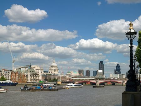 River Thames in London; the City and St Pauls photo