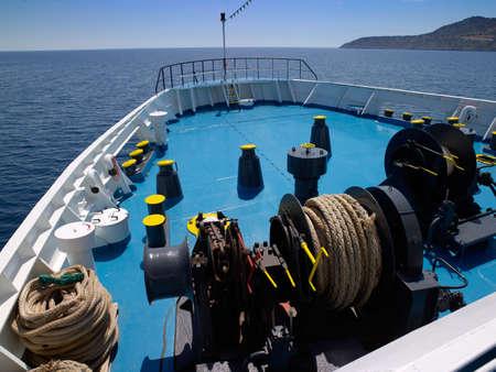 hawser: Ship bow and gear in mediterranean sea