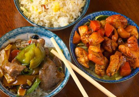 arroz chino: Deliciosa comida china, revuelva con el sector de la carne-froed  Foto de archivo