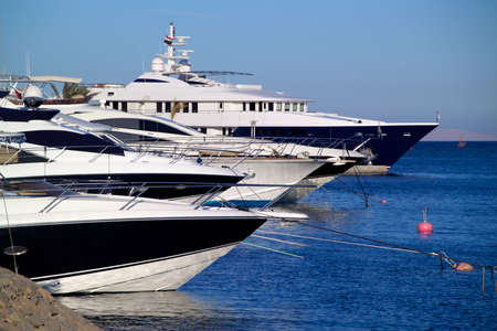el: Luxury yachts at El Gouna, Egypt, on the Red Sea Stock Photo