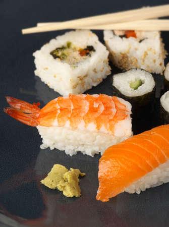 smoked salmon: A Japanese inspired Sushi meal with Nigiri prawn smoked salmon