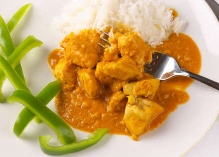 thai pepper: Thai Chicken peanut curry with bell peper lattice and rice Stock Photo
