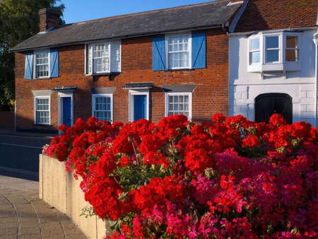 redbrick: redbrick house and geraniums Stock Photo