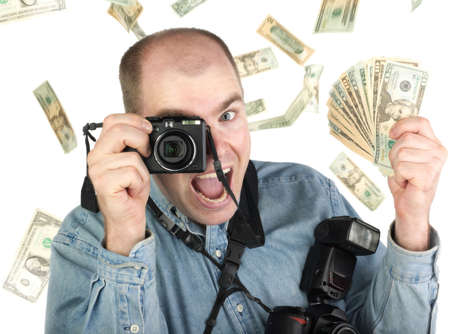 microstock: A successful microstock or stock photographer, showered with the money he has earned from his craft.  A winner! Stock Photo