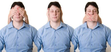 Business man with hear no, see no, and speak no evil Stock Photo - 1827756