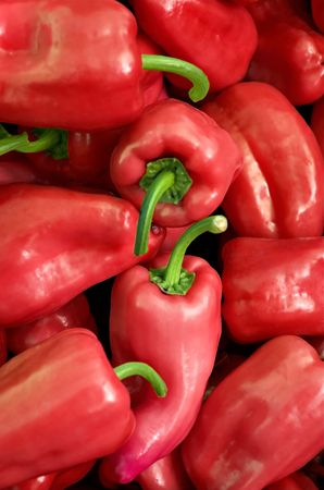 Organic red peppers at the farmers market