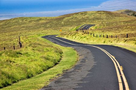 difficult journey: Saddleback Road on The Big Island, Hawaii. Stock Photo