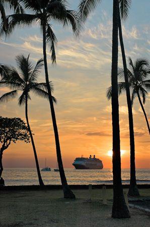 Cruise ship at anchor off Kona, Hawaii Stock Photo