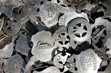 A pile of badges at a street market