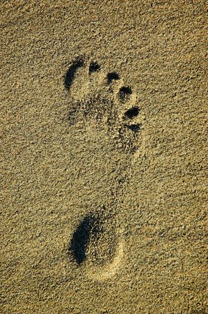 Footprint left in sand by a bare right foot.