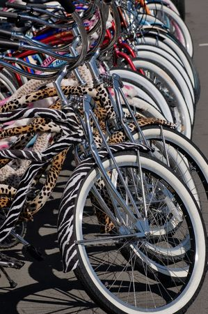 road cycling: A group of very colorful rental bicycles Stock Photo