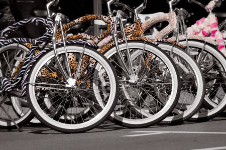 A group of very colorful rental bicycles Stock Photo