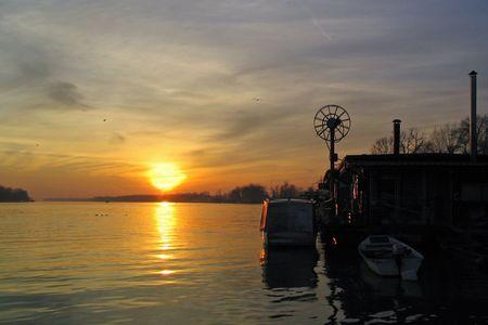 Sunset on Danube Stock Photo - 442874