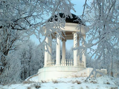 Winter fairy tale. Pavilion in park photo