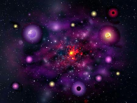 mysticism: Space. Violet galaxy