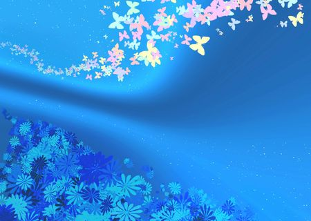 Blue abstract with butterfly and flowers Stock Photo