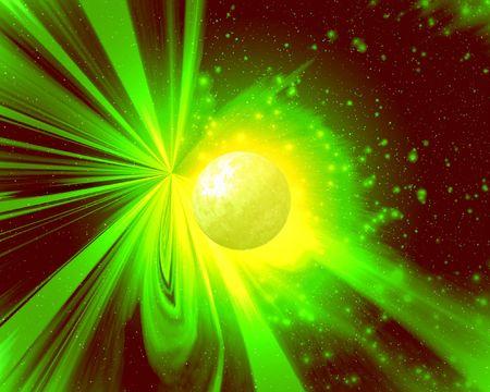 novel: Light of a novel yellow planet Stock Photo