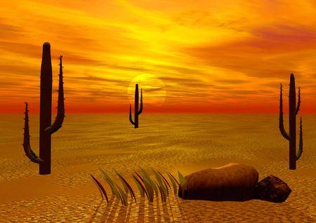 Desert. Mistical sunset Stock Photo - 391931