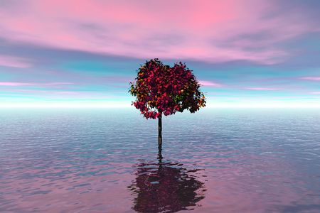 descend: Soft lilac evening.Lonely tree in water